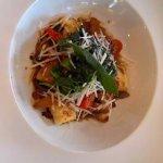 garlic parmesan crouton with mushroom ragu