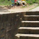 Stairs leading to Gregg Allman's grave site. Headstone to be placed later.