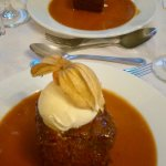 Sticky Toffee Pudding with Clotted Cornish Cream at The Riverside