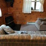 Petit salon avec télévision et foyer électrique (chalet #1)