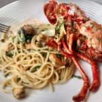 Lobster with seafood linguine