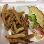 Cafe Huey on City Island, Harrisburg PA.  I ordered the chicken salad on onion brioche bun and f