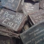 Luggage belonging to the Jews on arrival at Auschwitz