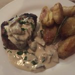 Filet Mignon with blue cheese mushroom sauce and rosemary fingerling potatoes