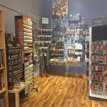 Great selections of board games, Star Wars models and decks of magic and other game cards.