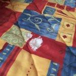 Bedspread had holes.