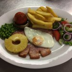 Gammon egg and pineapple