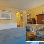 Two-room Family Suite. Main room single queen (kids room twin bunk bed). Wall heater/ portable f