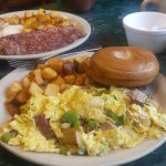 Hopple Popple and Corn Beef Hash breakfasts - big big breakfast!