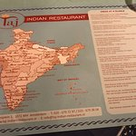 Fun placemats give you info about India as you wait for your meal