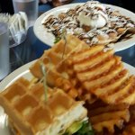 Waffle fries & BLTA and Bubble waffle with Ice cream ect