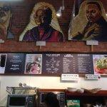 the menu and giant portraits