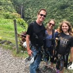 A photo at the end of the course, with Akaka Falls in the background. Best day ever!