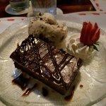 chocolate brownie with vanilla ice-cream
