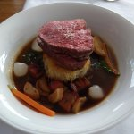 BEEF BOURGUIGNON': PAN-SEARED BEEF FILLET, PANCETTA, MUSHROOM, PEARL ONION, BABY CARROTS, WHITE