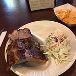 4 bone & cole slaw special, wall mural, stone fireplace, outside looking west, their menu.