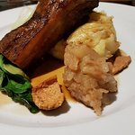 New Dish - Pork belly, mash, apple compote & bok choy