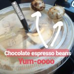 Complimentary chocolate espresso beans happily delivered on your drink!