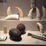 Some of the scrimshaw art— walrus tusks, whale teeth and even a domino set, all hand carved.