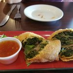 egg rolls: collard greens and smoked turkey