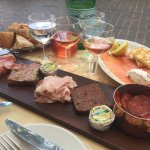Traditional meat platter and smoked salmon