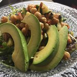 Spicy chickpea salad with avocado.