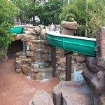 Water slide in rock formation