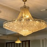 One of the chandeliers in the dining room