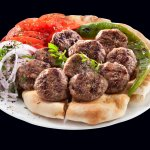 the butchers meatballs grilled on a coalfireand served with our home made pita bread.