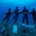 Our group diving with Back To Basics in Ponta, photo was taken by Rupert