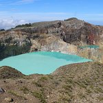 Two of the coloured lakes at Kelimutu