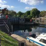 View the Lock Bell Weir from the terrace area