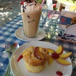 Iced coffee and peach muffin