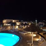 Views at night from the pool area