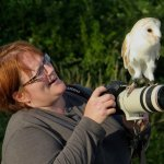 Emma being given instruction on her photography by Willow the Barn Owl