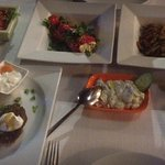 Different selection of mezza dishes