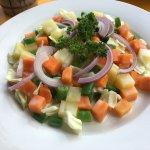 Tuna jaffle and Russian salad