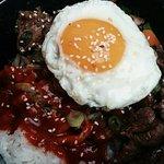 Salmon bibimbap, beef bibimbap and kimuchi fried rice. Highly recommend!