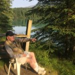 morning coffee on the Kenai; steps away from cabin