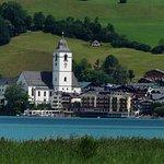 Hotel view taken across the lake, on a walk to Strobl