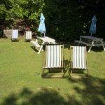 sunny beer garden behind the pub