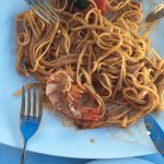 The lobster pasta. (The fork is added as an object for mesaurement.)