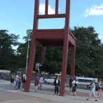 the famous chair gifted by Africa. to goad action against land mines.