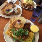 Butter chicken omelette, french toast and eggs pacifico