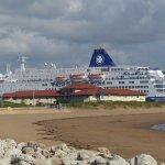 Ferry entering the Tyne dwarfs Little Haven Hotel