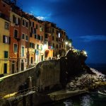 View from room at night. Overlooks Riomaggiore cove.