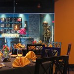 The private dining room seen in blue