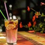 Fresh lemonade with raspberry