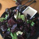 Roasted Beet Salad, roasted beets, bleu cheese, sugared walnuts, and balsamic vinegar.