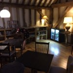 The mezzanine bar and library area